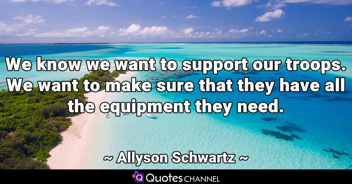 We know we want to support our troops. We want to make sure that they have all the equipment they need.